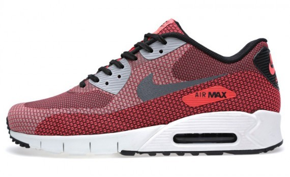 Nike Air Max 90 Current Jacquard Red Shoes 631750-600 Laser Crimson Dark Grey