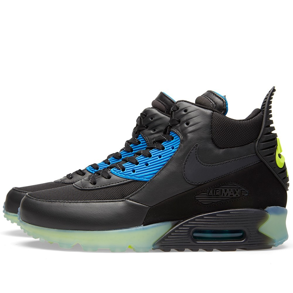 Nike Air Max 90 Sneakerboot Ice 684722-001 Black Dark Ash Blue Volt Men's Shoe