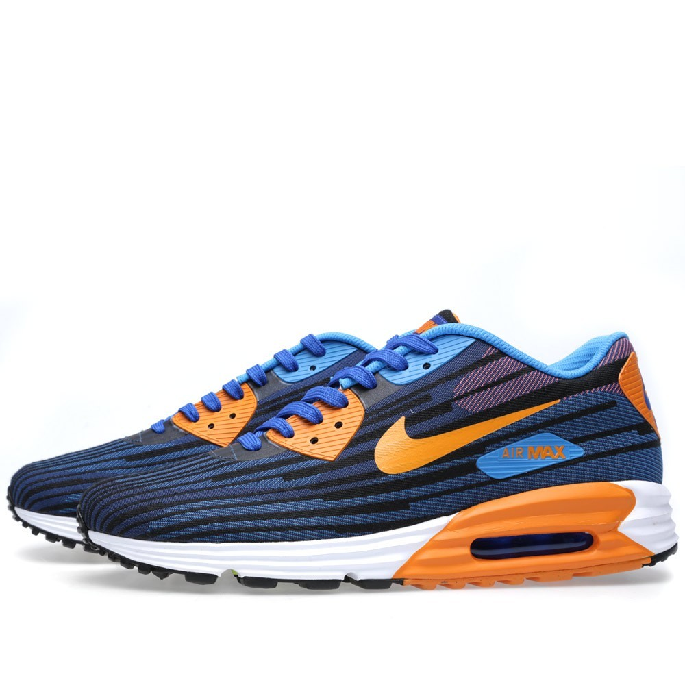 Nike Air Max Lunar90 Jacquard Men's Shoes 654468-400 Game Royal Copper Flash