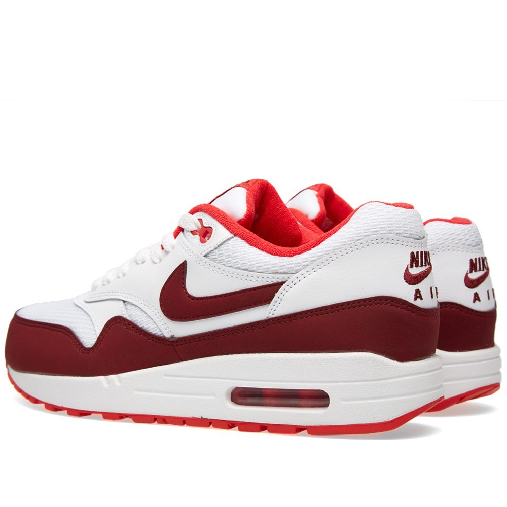 Nike Air Max 1 Essential Shoes 599820-110 White Team Red Action Red ...