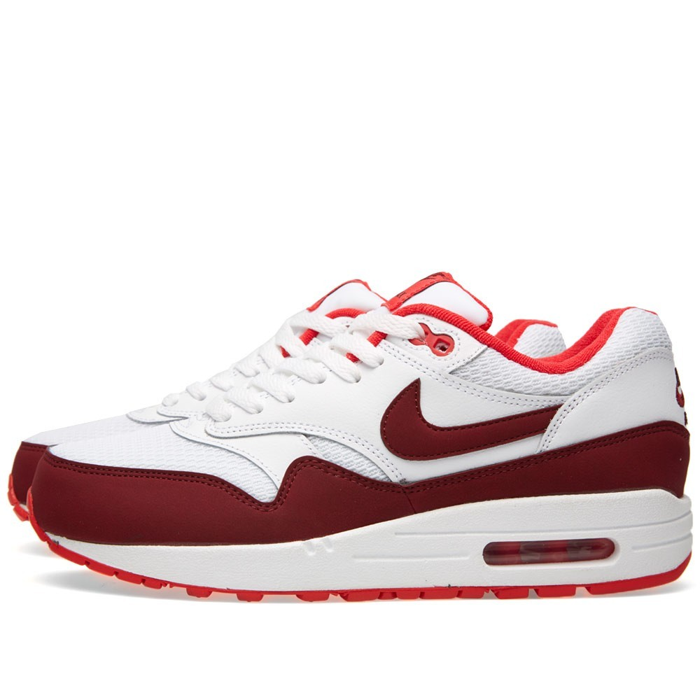 ... Nike Air Max 1 Essential Shoes 599820-110 White Team Red Action Red