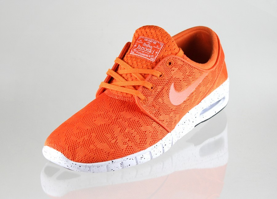 Nike SB Stefan Janoski Max EM Lite Crimson Orange White Speckled Outsole Shoe