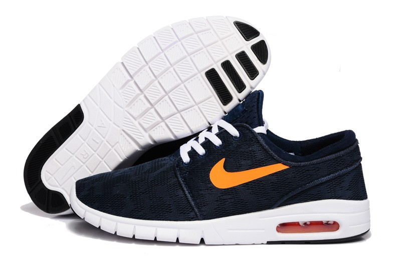 newest 74cb1 e824e Nike SB Stefan Janoski Max EM Navy Blue Orange White Shoe