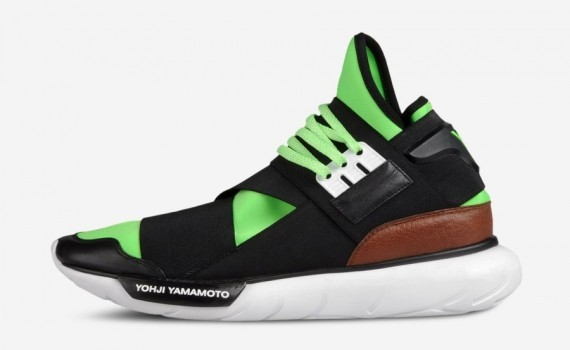 the latest f7875 11c90 Adidas Y-3 Qasa High Tops by Yohji Yamamoto Neon Green Black Brown White  Mens and Womens Shoes
