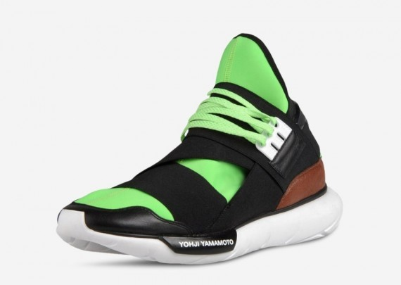 Adidas Y-3 Qasa High Tops by Yohji Yamamoto Neon Green Black Brown White Mens and Womens Shoes
