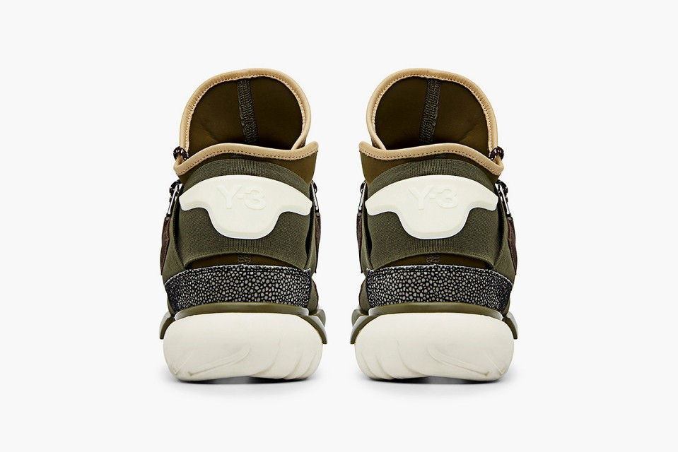 Adidas Y-3 Qasa High Tops by Yohji Yamamoto Khaki Sneakers for Men and Women