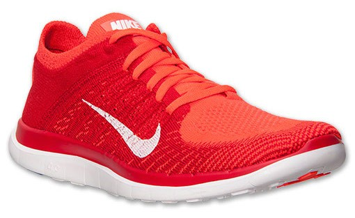 Nike Free 4.0 Flyknit 631053 601 Bright Crimson/University Red/Total Orange/White Men's Running Shoes