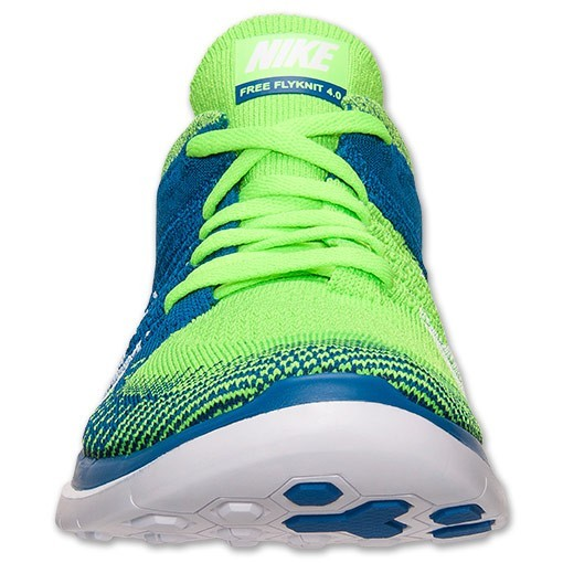 Nike Free 4.0 Flyknit 631053 314 Electric Green/White/Military Blue/Volt Men's Running Shoes
