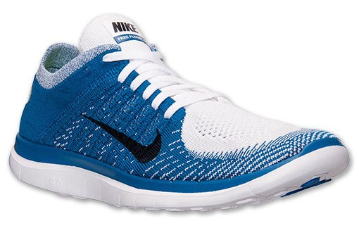 Nike Free 4.0 Flyknit 631053 104 White/Black/Military Blue Men's Running Shoes