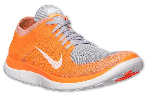 reputable site 7c9fe db87c Nike Free 4.0 Flyknit 631053 008 Wolf Grey White Total Orange Volt Men s ...