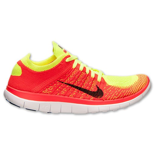 Nike WMNS Free Flyknit 4.0 631050 700 Volt/Black/Bright Crimson Women's Running Shoe