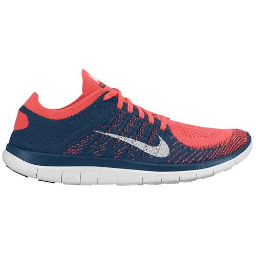 Nike Free 4.0 Flyknit 631053 600 Hyper Punch/White/Squadron Blue Men's Running Shoes