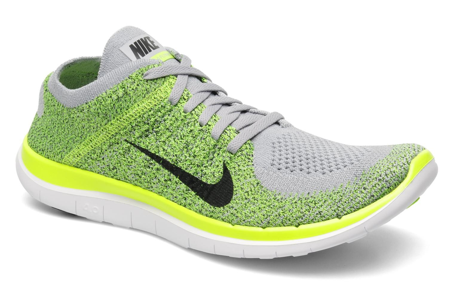 Nike Free 4.0 Flyknit Wolf Grey/Black-Volt-Electric Green Men's Running Shoes