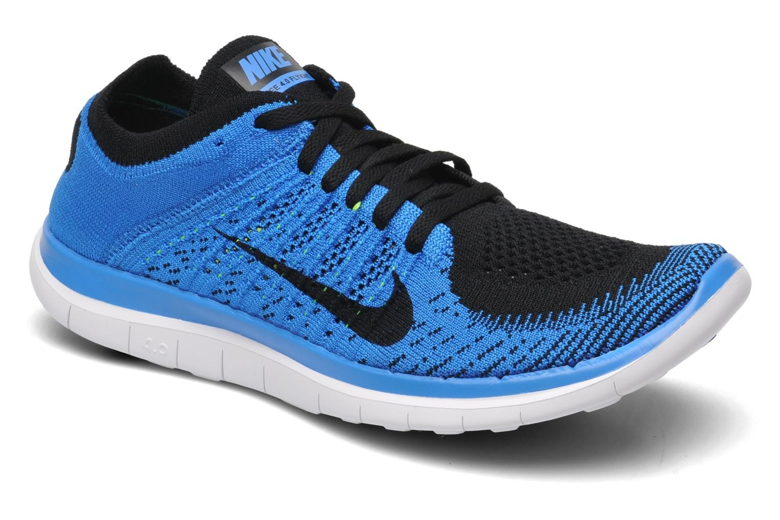 Men's Nike Free Flyknit 4.0 Black Photo Blue White Sneakers : C2f3434