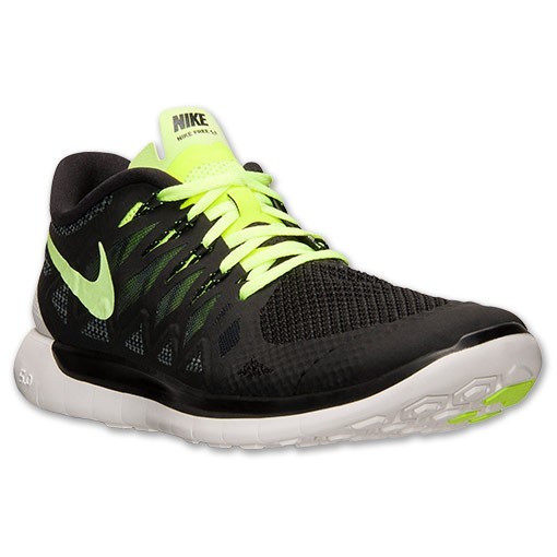 Nike Free 5.0 2014 642198 007 Black/Volt/Dark Magnet Grey/Summit White - Men's Running Shoes