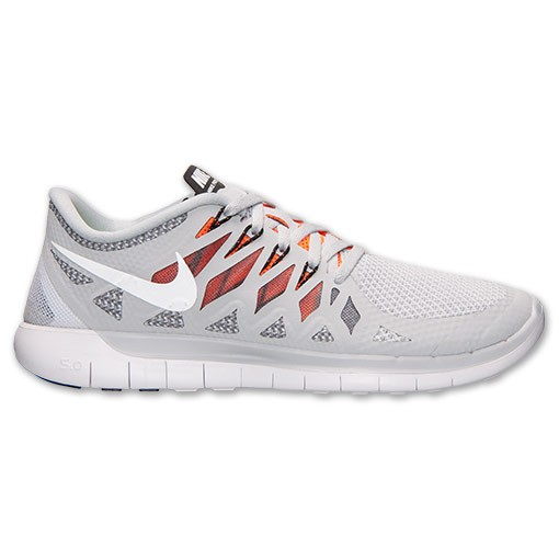 Nike Free 5.0 2014 642198 018 Pure Platinum/White/Black/ Total Orange - Men's Running Shoes