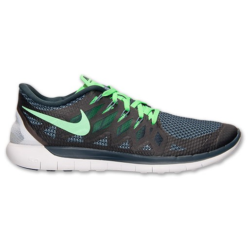 Nike Free 5.0 2014 642198 009 Black/Poison Green/Classic Charcoal - Men's Running Shoes