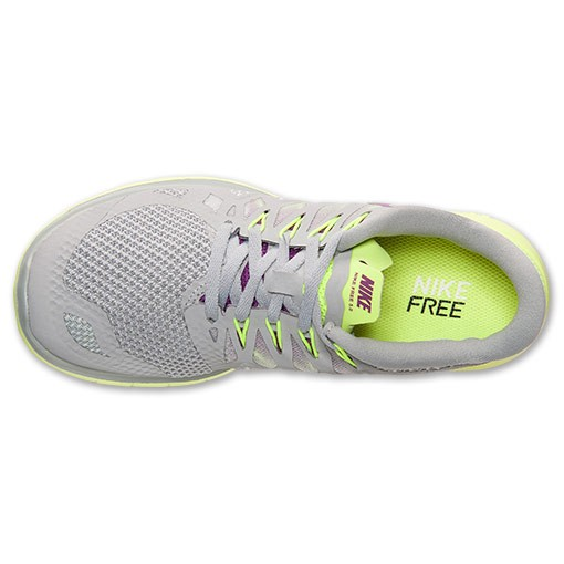 Nike WMNS Free 5.0 2014 642199 005 Base Grey/Bright Grape/Volt Womens Running Shoe