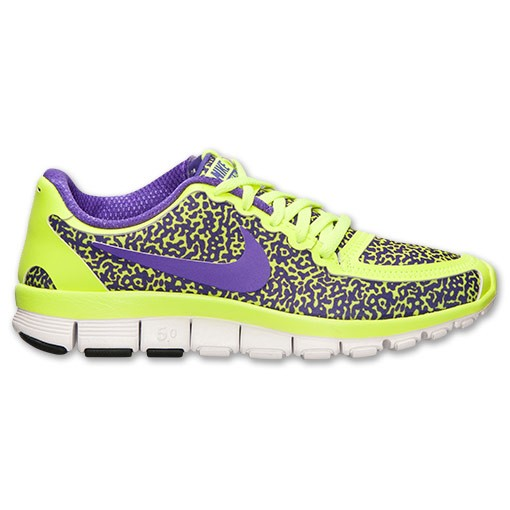 Nike WMNS Free 5.0 V4 Speckled 511281 700 Volt/Hyper Grape/White Womens Running Shoe