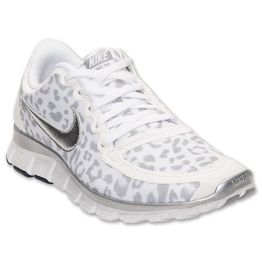 Nike WMNS Free 5.0 V4 Print Leopard 511281 100 White/Silver/Wolf Grey Womens Running Shoe