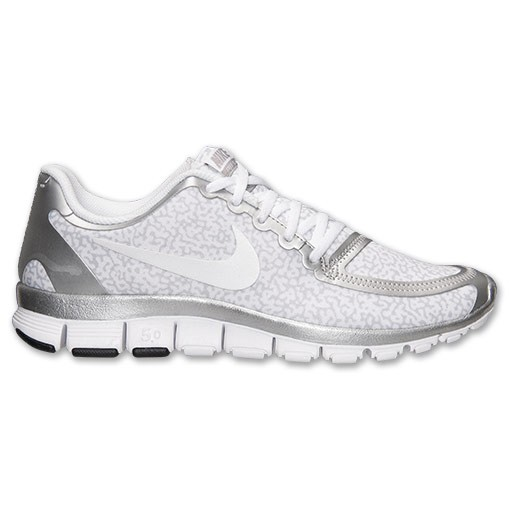 Nike WMNS Free 5.0 V4 Speckled 511281 102 White/Metallic Silver/Wolf Grey Womens Running Shoe