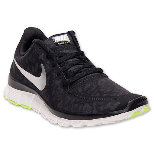 Nike WMNS Free 5.0 V4 Leopard 511281 008 Black/Metallic Silver/Anthracite Womens Running Shoe