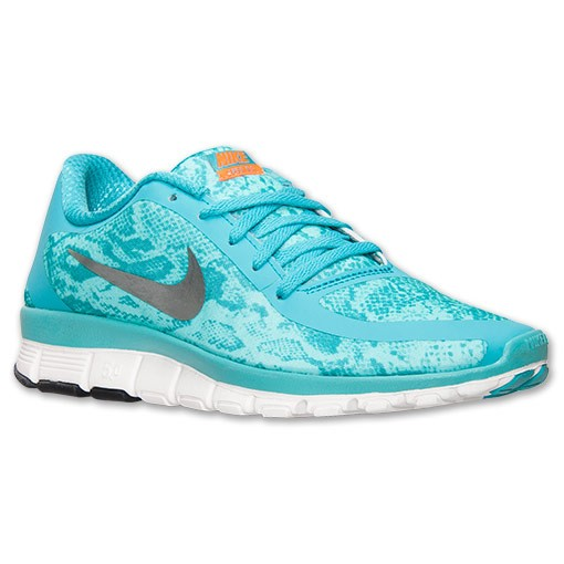 Nike WMNS Free 5.0 V4 Snakeskin Print 695168 300 Dusty Cactus/Metallic/Bleached Turq Womens Running Shoe