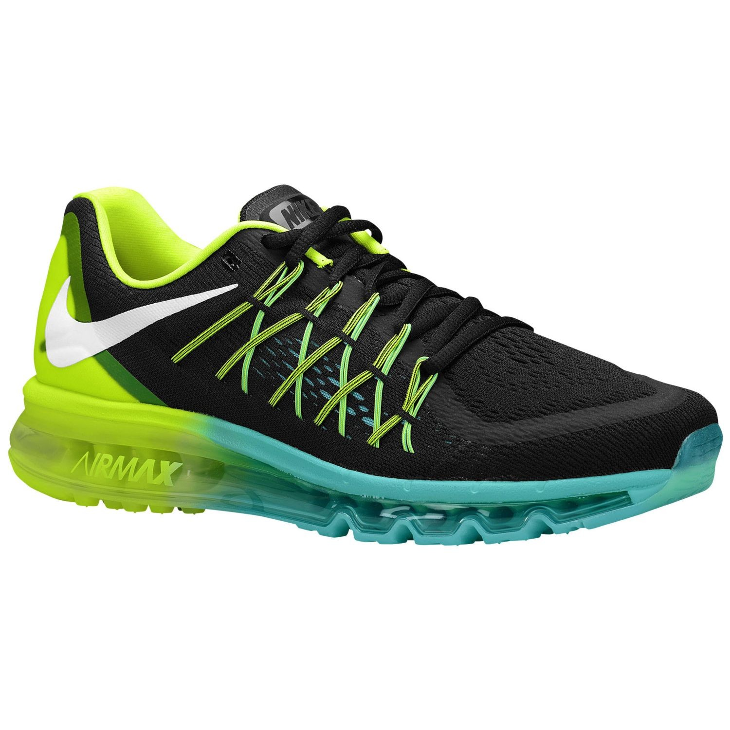 Nike Air Max 2015 698902-003 Black White Volt Hyper Jade Mens and Womens Running Shoes