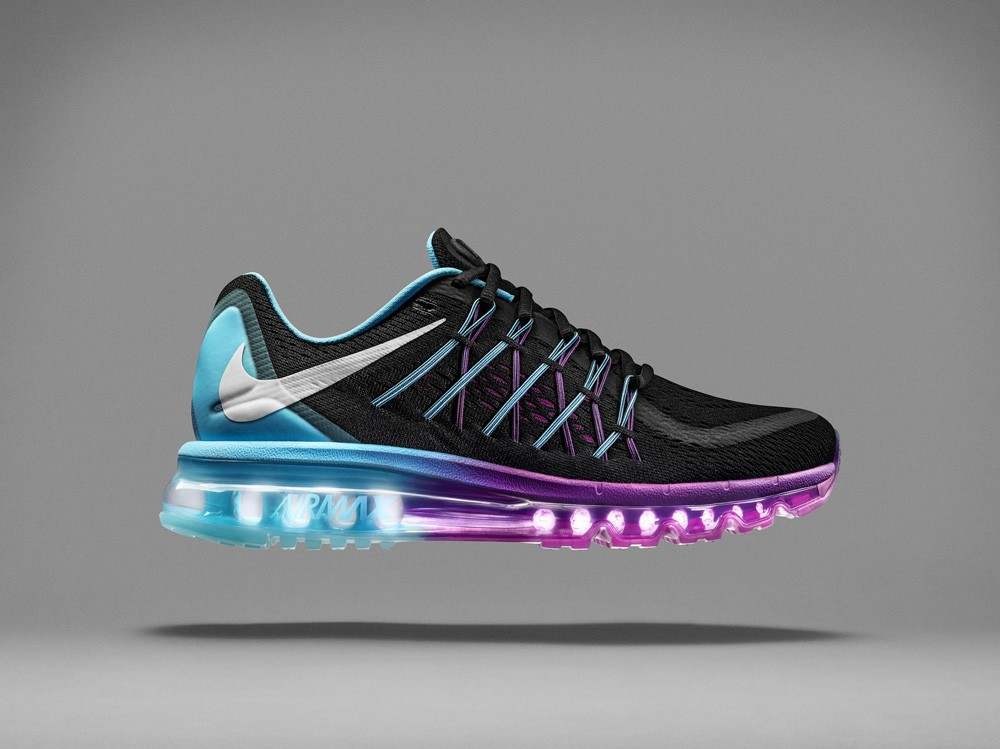 Nike Air Max 2015 Black Purple Blue Platinum Mens and Womens Running Shoes