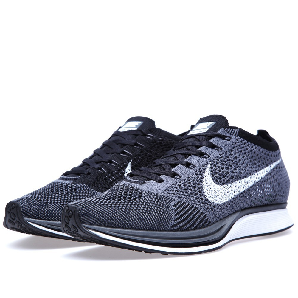 Nike Flyknit Racer 526628-010 Dark Grey White/Black Men\u0027s Running Shoes