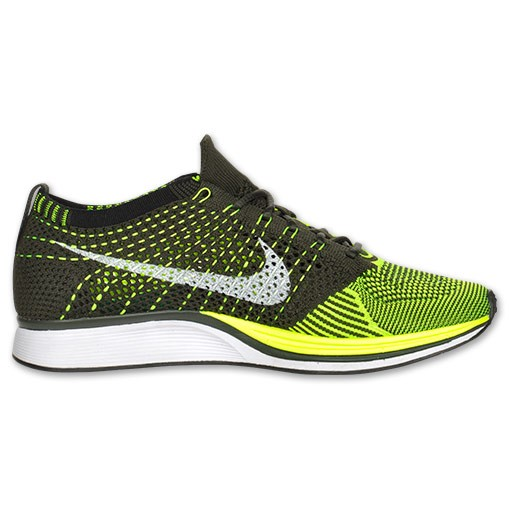Nike Flyknit Racer 526628 721 Volt/Black/Olive Green/Summit Men's Running Shoes