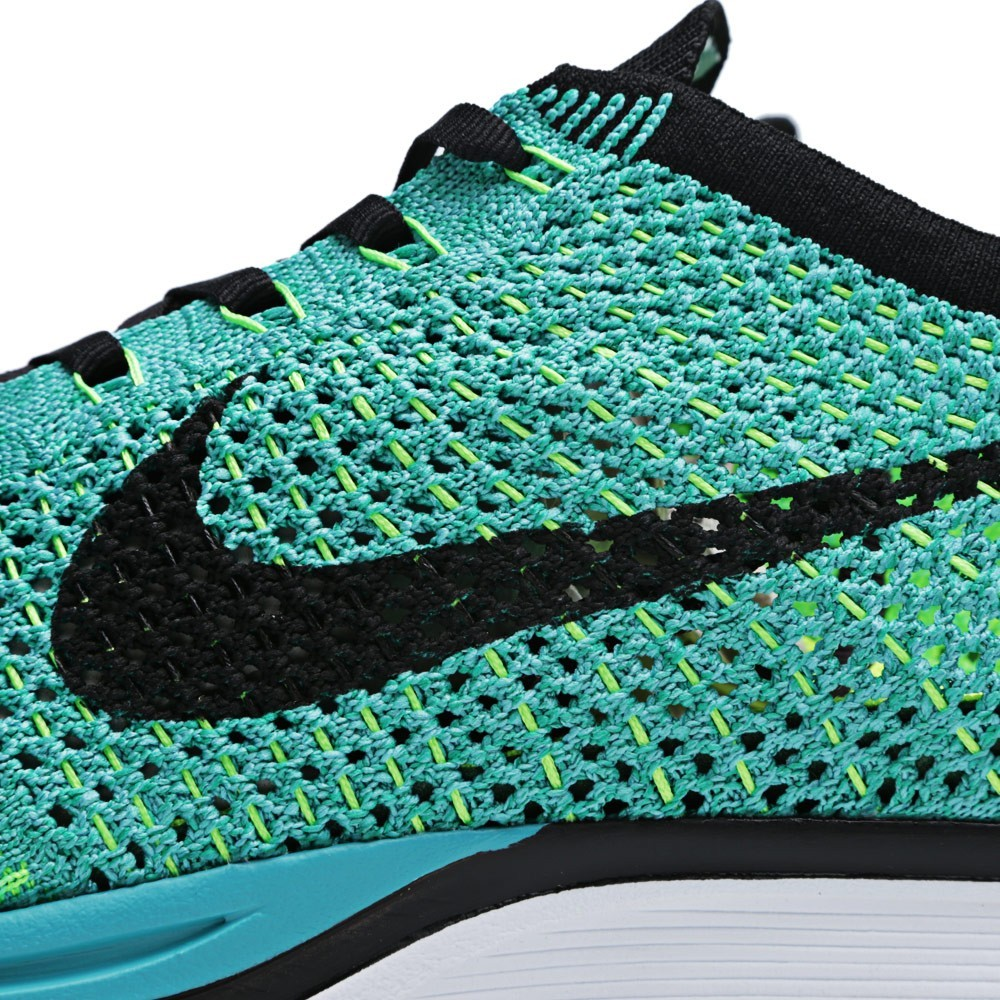 Nike WMNS Flyknit Racer 526628-300 Sport Turquoise/Black Womens Running Shoes
