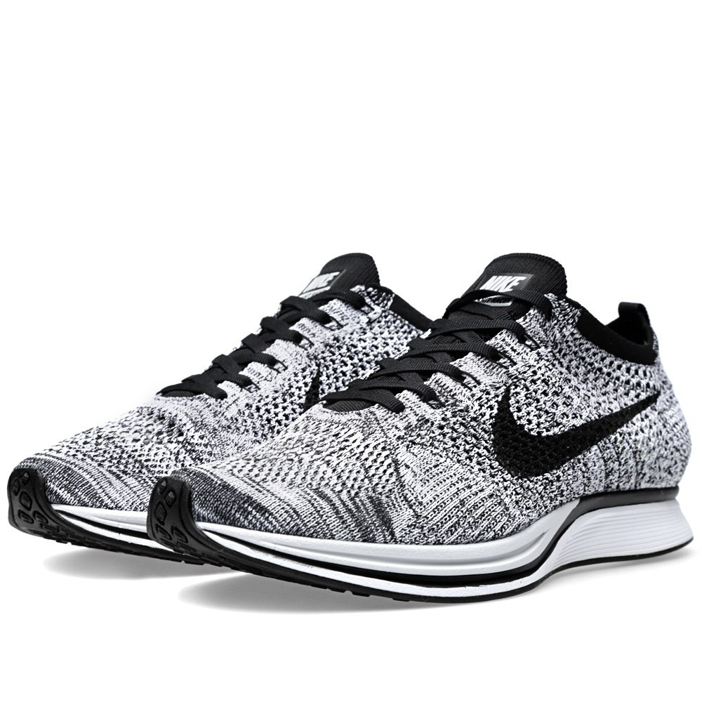 Nike Flyknit Racer 526628-101 White Black/Volt Men's Running Shoes