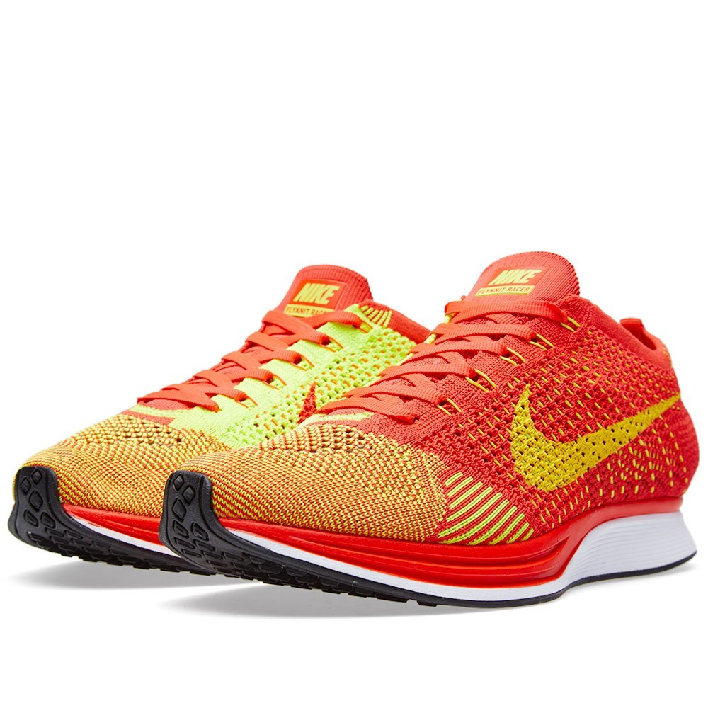 Nike Flyknit Racer 526628-601 Bright Crimson/Volt Men's Running Shoes