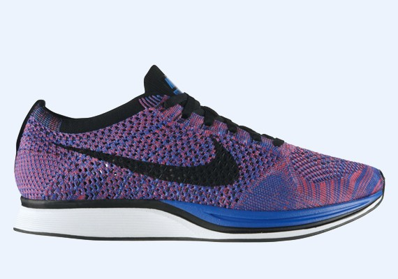 Nike WMNS Flyknit Racer Multicolor 526628-400 Game Royal/Black-Pink Flash Womens Running Shoes