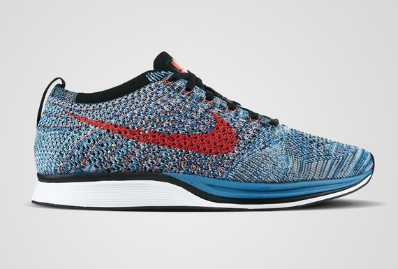 Nike Flyknit Racer Multicolor 526628-404 Blue Red Neo-Turquoise/Bright Crimson-Glacier Ice Men's Running Shoes