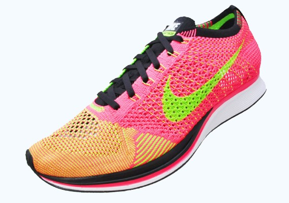 Nike Flyknit Racer 526628-603 Hyper Punch/Black/Electric Green Men's Running Shoes