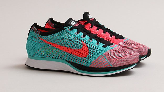 Nike WMNS Flyknit Racer Hyper Jade/Hyper Punch/Black Womens Running Shoes