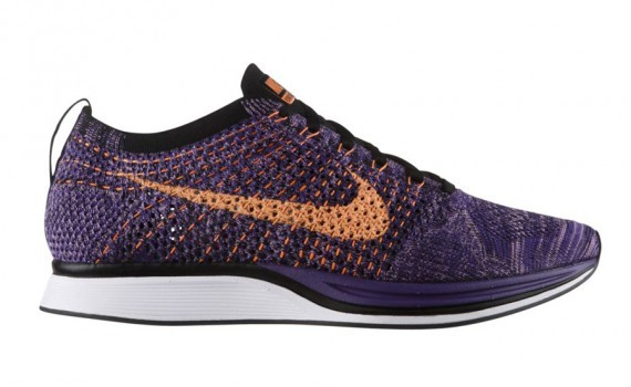Nike Flyknit Racer 526628-585 Purple/Atomic Orange-Court Purple Men's Running Shoes