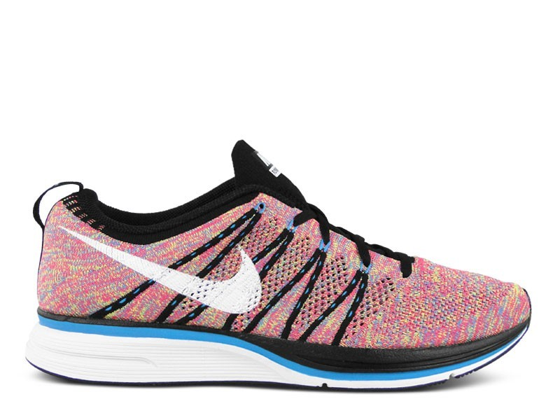 Nike WMNS Flyknit Trainer+ Multicolor 532984 014 Black/White-Blue Glow-Volt Womens Running Shoes