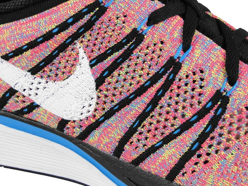 Nike Flyknit Trainer+ Multicolor 532984 014 Black/White-Blue Glow-Volt Men's Running Shoes
