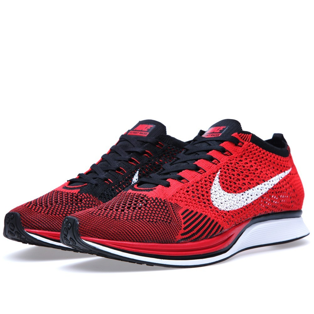 mens nike flyknit racer black red