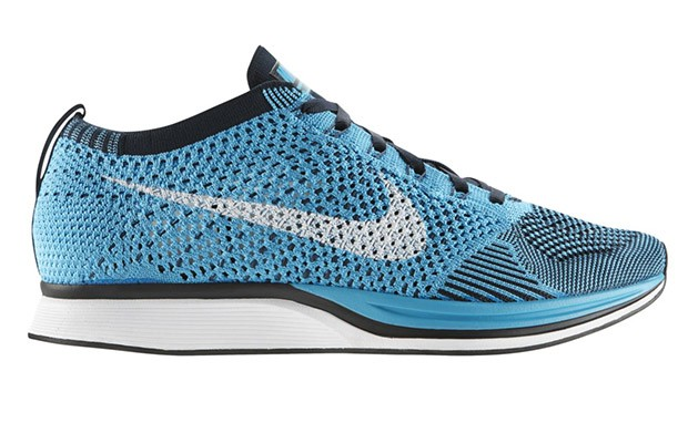Nike WMNS Flyknit Racer 526628-414 Chlorine Blue/White-Dark Obsidian Womens Running Shoes