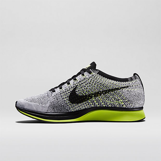 Nike Flyknit Racer 526628-007 Black/Volt/White Men's Running Shoes