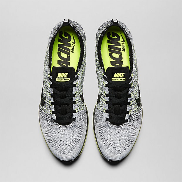 Nike WMNS Flyknit Racer 526628-007 Black/Volt/White Womens Running Shoes
