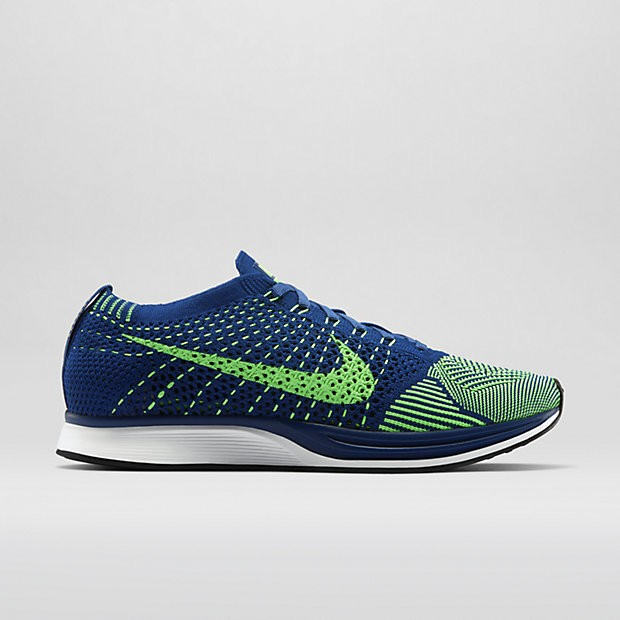 Nike WMNS Flyknit Racer 526628-403 Brave Blue/Poison Green Womens Running Shoes