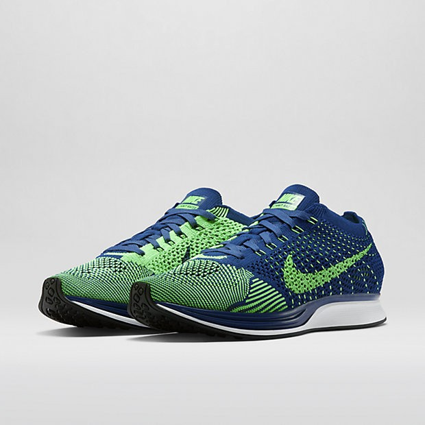 Nike Flyknit Racer 526628-403 Brave Blue/Poison Green Men's Running Shoes