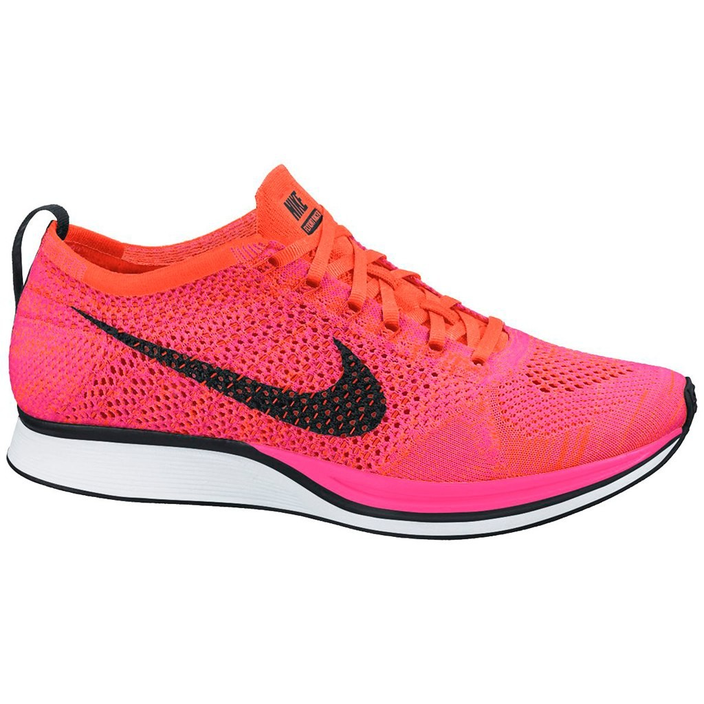 Nike WMNS Flyknit Racer 526628-600 Pink Flash/Hyper Crimson/Black Womens Running Shoes