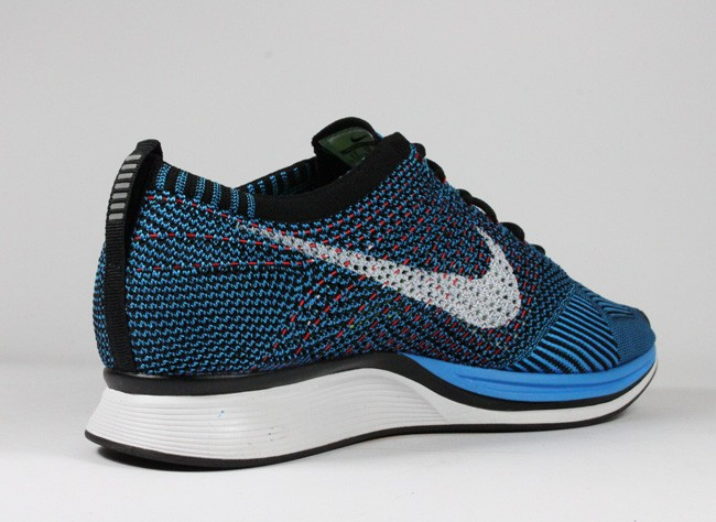 Nike Fly Knit Racer HTM Blue Black Volt Red White Platinum Men's Running Shoes