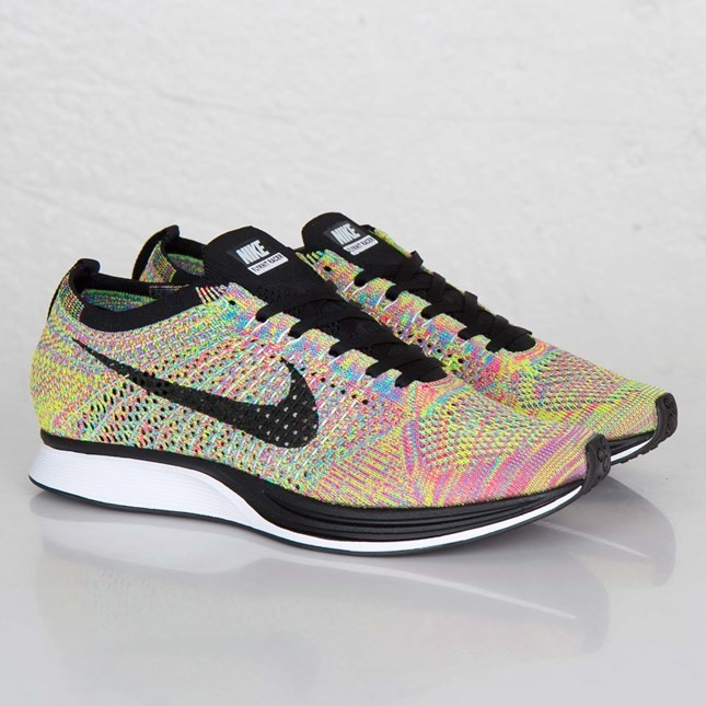 Nike WMNS Flyknit Racer Multicolor 526628-004 Dark Grey/Black-Blue Glow-Pink Flash Womens Running Shoes